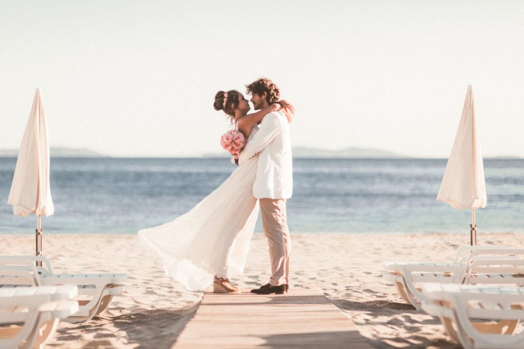Tropicana mariés sur le ponton