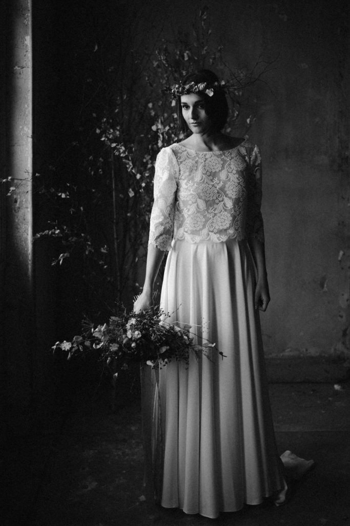 un mariage en hiver château de chambly en noir et blanc