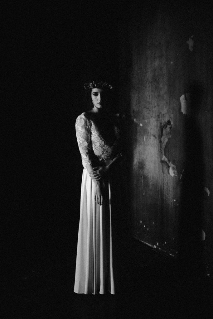un mariage en hiver en noir et blanc
