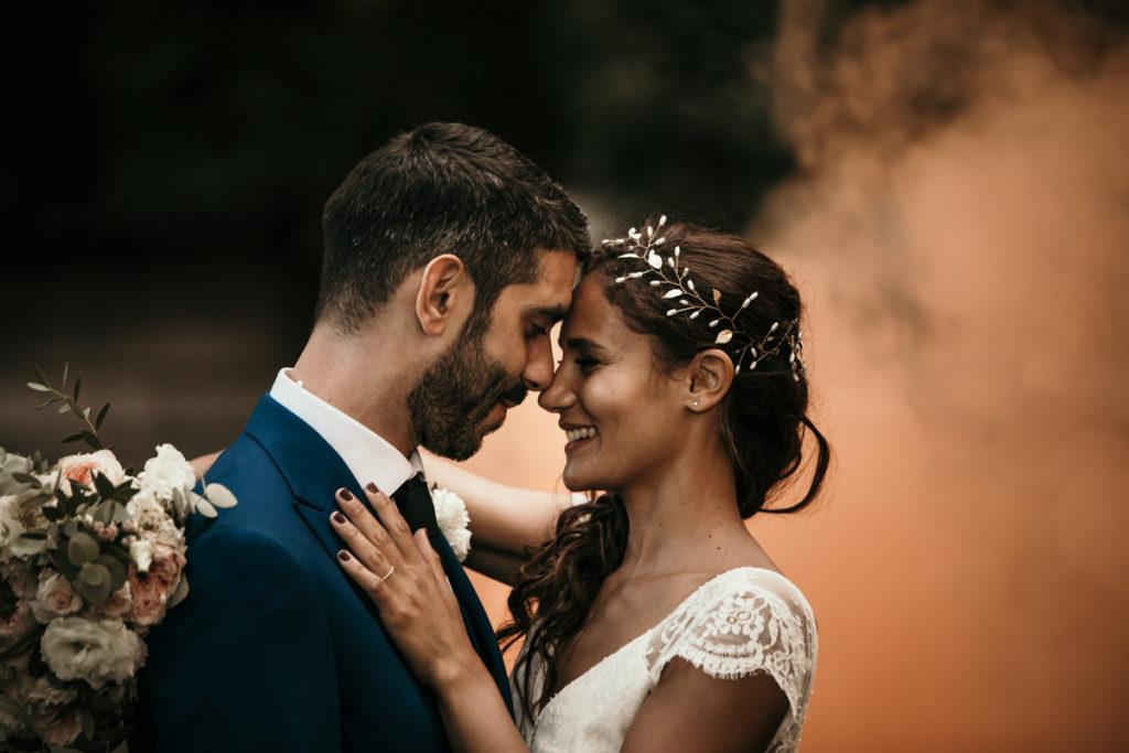 Photographe Mariage Domaine de Verderonne photo mariage fumigènes