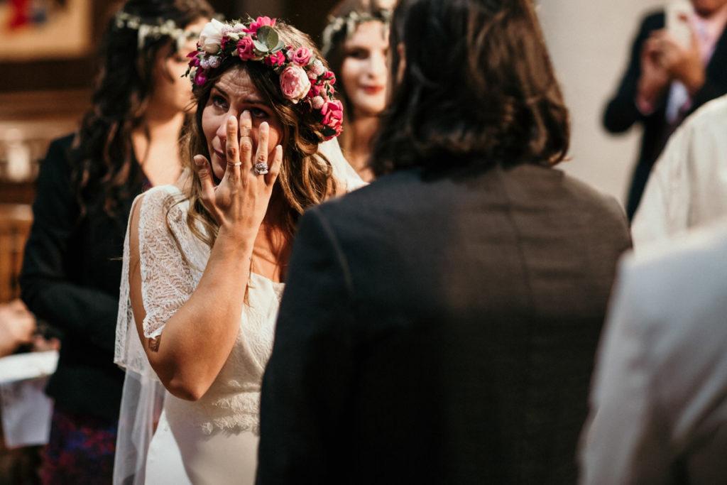les larmes de la mariée à l'eglise mariage seine et marne essonne