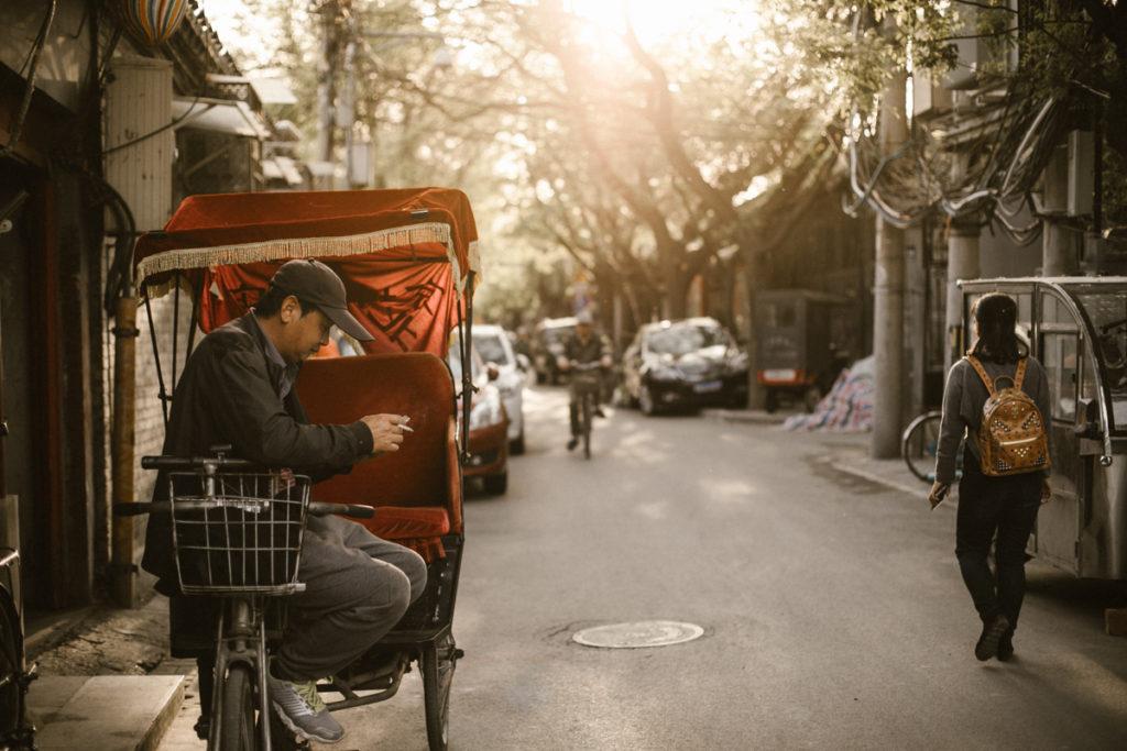 Pékin coucher de soleil dans les hutongs